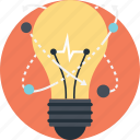 bulb idea, creative light, innovation, inspiration, molecular bulb icon