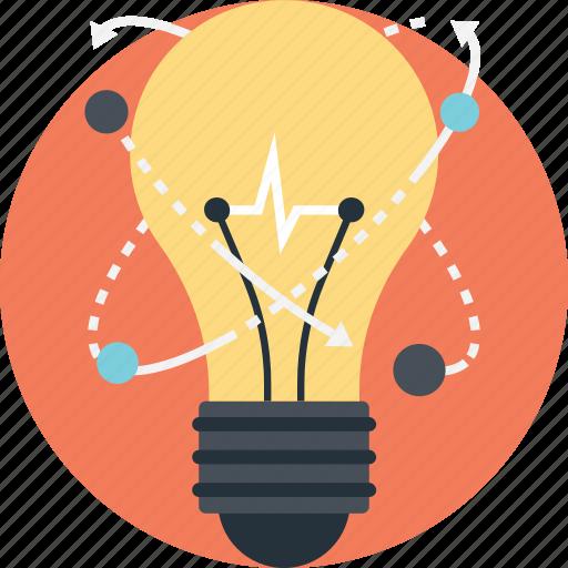 bulb idea, creative light, innovation, inspiration, molecular bulb icon