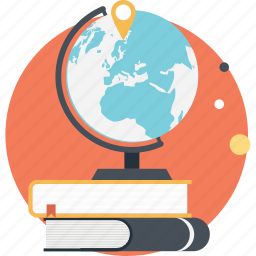 global education, globe books, international education, modern education, worldwide education icon