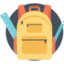 back to school, backpack, books bag, school bag, student backpack icon