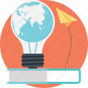 book, bulb, education, idea, paperplane icon