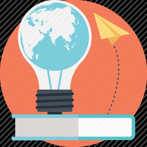 book, bulb, education, idea, paperplane icon