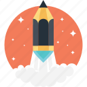 art launch, creative start, creativity, pencil launch, rocket pencil icon
