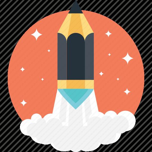 art launch, creative start, creativity, pencil launch, rocket pencil icon