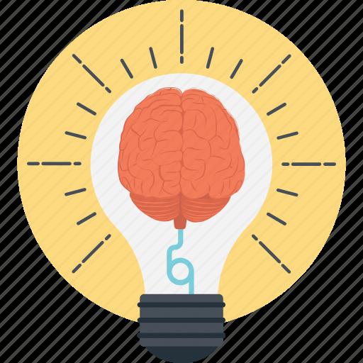 brain bulb, bright mind, creative mind, glowing mind, innovation icon