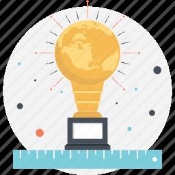big idea, bulb trophy, innovation award, lightbulb award icon