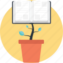 book plant, education development, education progress, educational growth, transformative learning icon