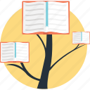 book tree, development, education growth, education progress, education rise icon