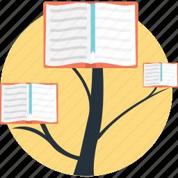 book tree, development, education growth, education progress, education rise icon