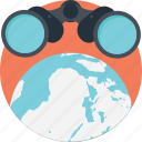discovery, finding, global search, globe binocular, invention icon