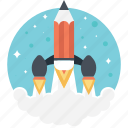 creative start, creativity, pencil launch, rocket pencil, startup pencil icon