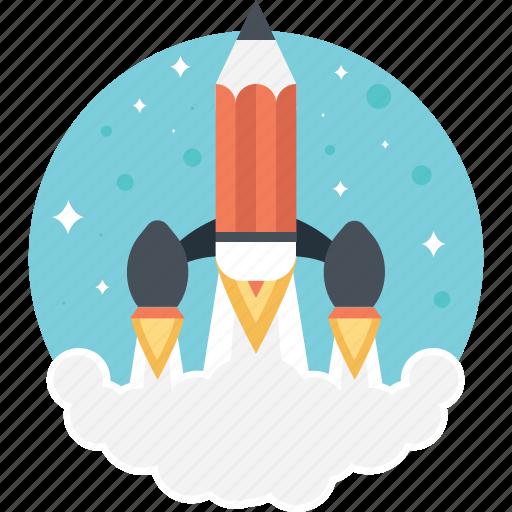 creative start, creativity, pencil launch, rocket pencil, startup pencil icon