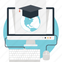 distance learning, education, elearning, online certificate, online degree icon