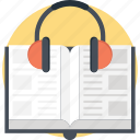 audio book, book with headphone, digital book, e book, recording book icon