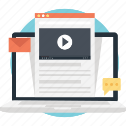online study, video lecture, video tutorial icon