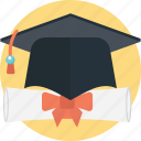 deed, degree, diploma, graduation, scholars icon