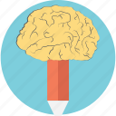 ability, brain pencil, creativity, innovation, intelligence icon