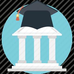 academy, building, education, real estate, school icon