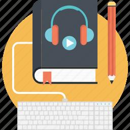 audio book, book with headphone, digital book, e book, recording book icon