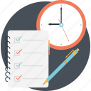 checklist clock, schedule, to do time, todo reminder, work plan icon