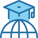 education, global, hat, learning, school icon