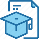 document, education, file, hat, learning, school icon