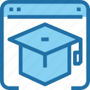 browser, education, hat, learning, online, school icon