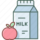apple, beverage, bottle, breakfast, drink, fresh, milk icon