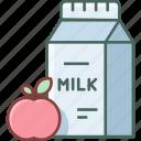 bottle, breakfast, milk, apple, beverage, drink, fresh