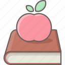 apple, book, bookmark, education, fruit, knowledge, study icon