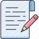 document, draw, edit, pencil, sheet, write, writing icon