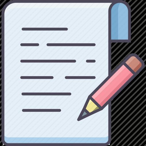 document, draw, edit, pencil, sheet, write, writing icon