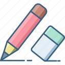 design, document, edit, eraser, pen, pencil, write icon