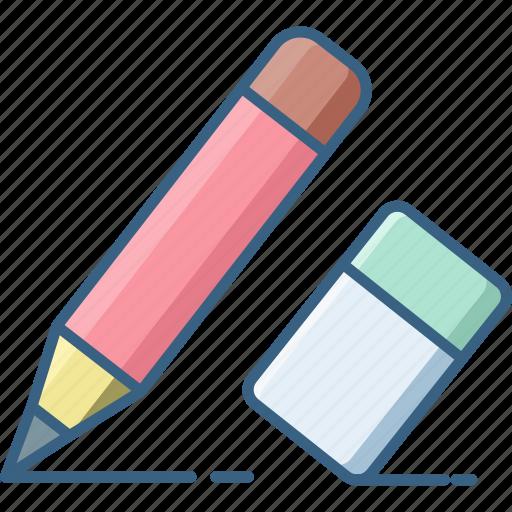 design, document, edit, eraser, pen, pencil, write icon