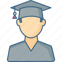 boy, cap, education, graduation, hat, student, university icon