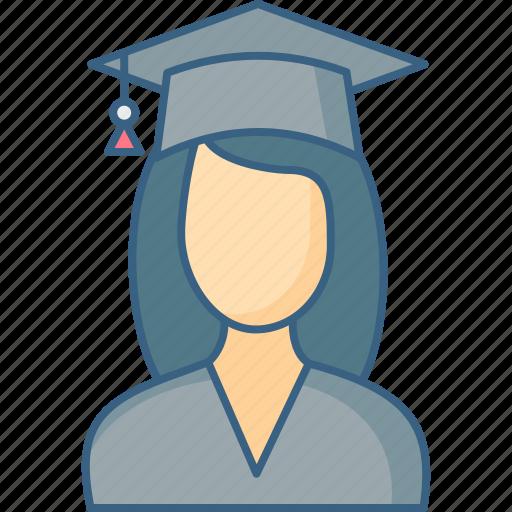 education, girl, graduate, graduation, student, university icon