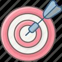 aim, arrow, bullseye, dart, dartboard, focus, target icon