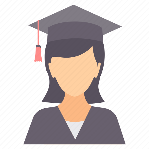 college, education, female, girl, graduate, student icon