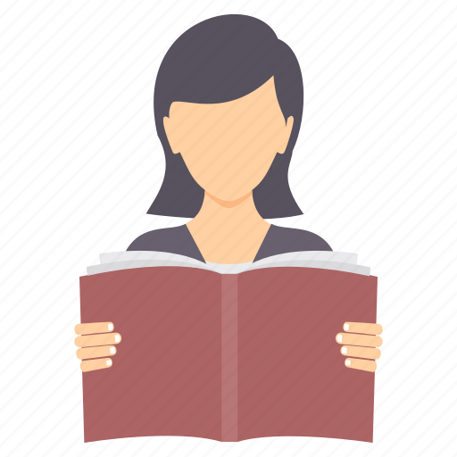 book, education, girl, learning, read, reading, study icon