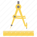 compass, creative, design, drawing, geometry, ruler icon