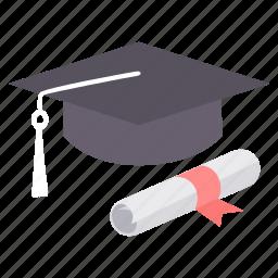 cap, certificate, certification, diploma, graduate, graduation, hat icon