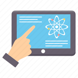 atom, chemistry, device, laptop, research, science icon