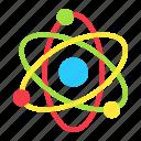 atom, education, molecular, nucleus, physics, proton, science icon