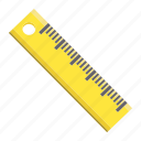 education, geometric, length, math, measure, ruler, school icon