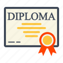 award, certificate, diploma, document, education, graduation, ribbon icon