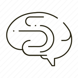 brain, learn, line, thinking icon