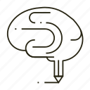 brain, braingstorm, line, study, thinking, write icon