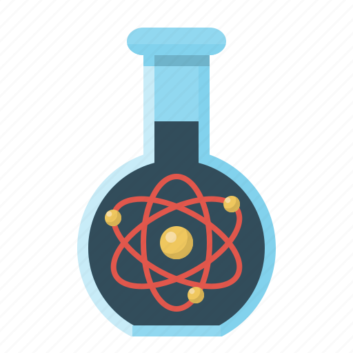 atoms, chemistry, education, flask, phial, science, vitro icon