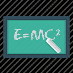 blackboard, chalk, education, formula, physics, science icon