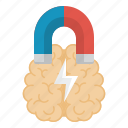 brain, brainstorming, education, magnet, science icon